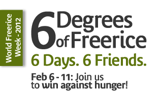 6 degrees of freerice, 6 days, 6 friends logo